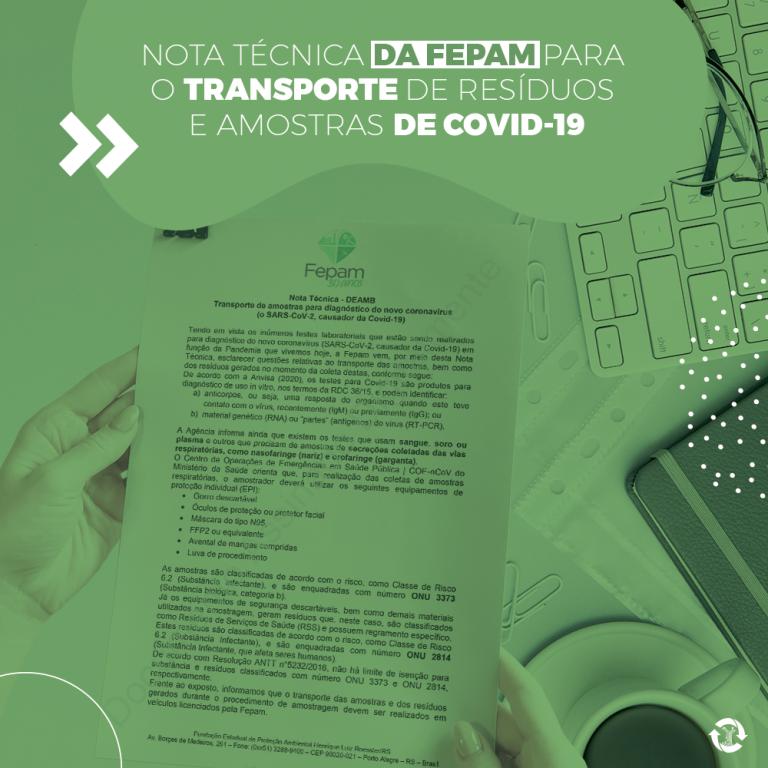 Nota técnica da FEPAM para o transporte de resíduos e amostras de COVID-19