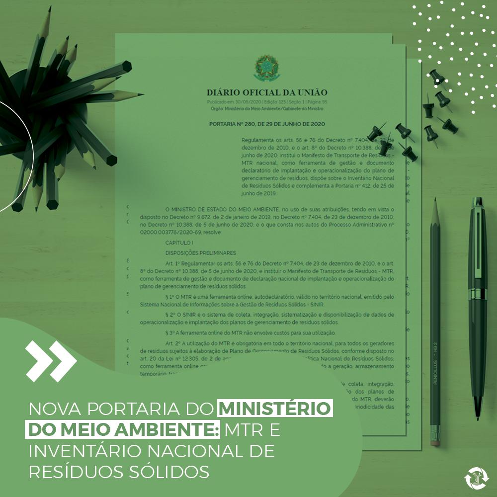 Nova Portaria do Ministério do Meio ambiente: MTR e Inventário Nacional de Resíduos Sólidos