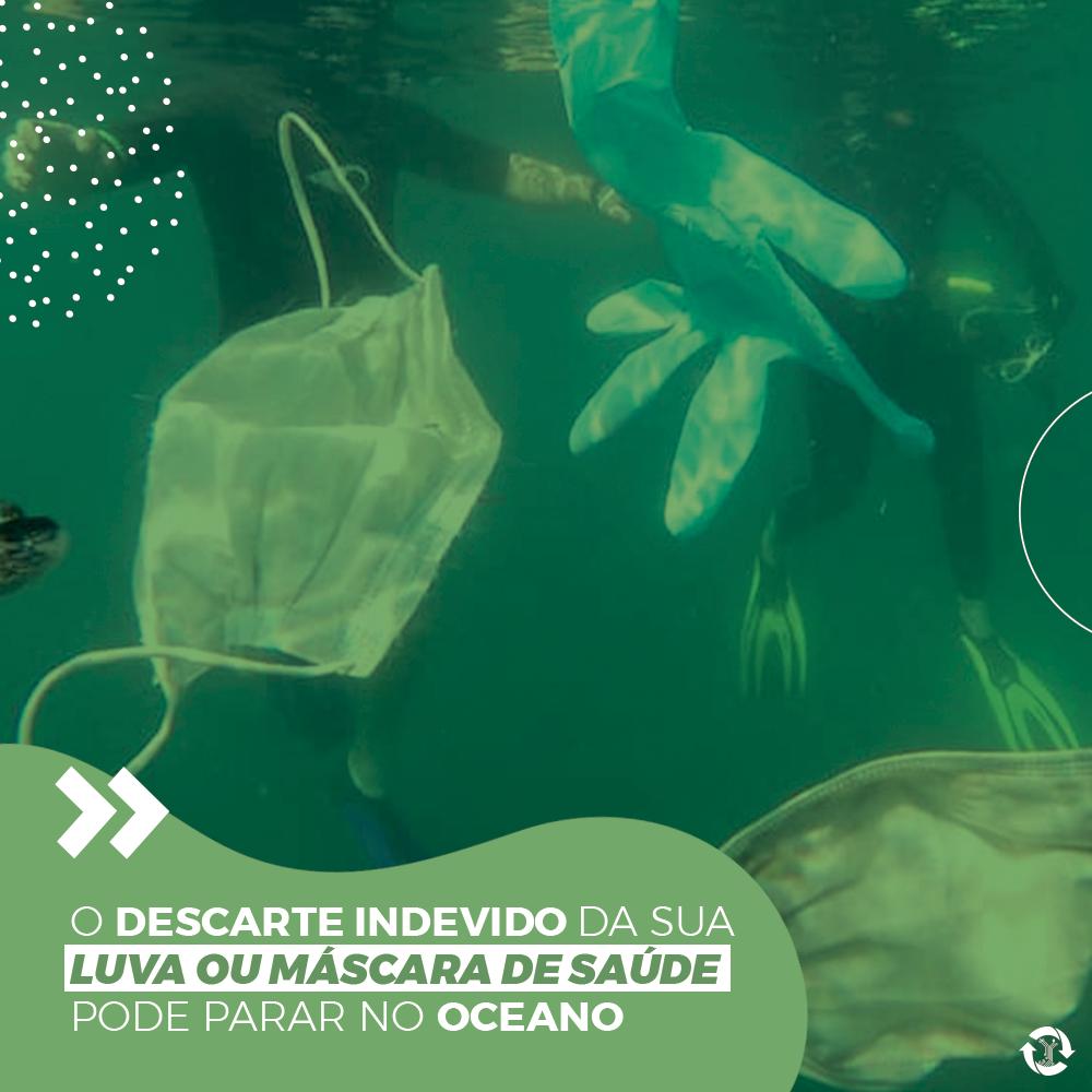 O descarte indevido da sua luva ou máscara de saúde pode parar no oceano