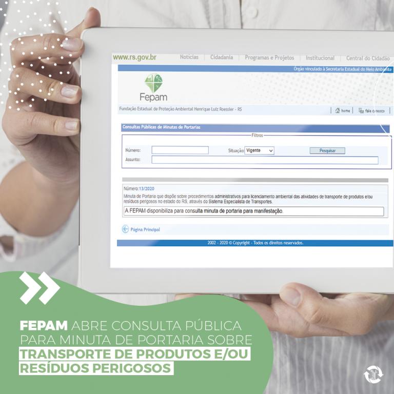 Fepam abre consulta pública para minuta de Portaria sobre transporte de produtos e/ou resíduos perigosos.